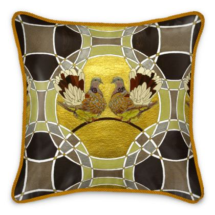 Two Turtle Doves Silk Cushion
