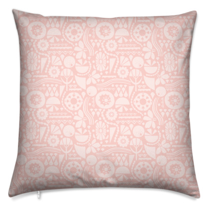 Eclectic Garden Pink Square Medium Cushion
