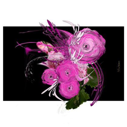 Zip Top Handbag - Zip Top Handväska - Pink summer fantasy black