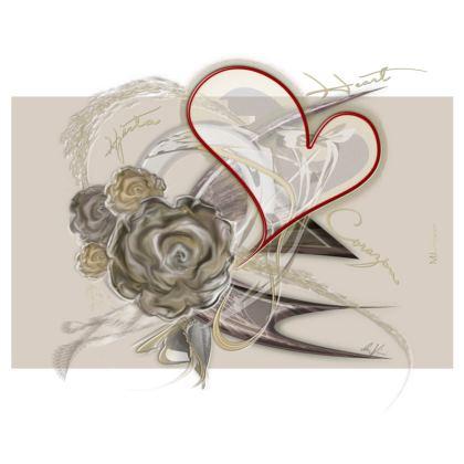 Zip Top Handbag - Zip Top Handväska - Brown heart brown