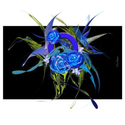 Zip Top Handbag - Zip Top Handväska - Blue flower black