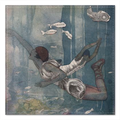 Victorian Mermaid Pocket Square handkerchief