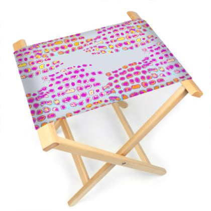 Textural Collection in grey and magenta Folding Stool Chair
