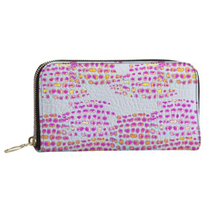 Textural Collection in grey and magenta Leather Zip Purse