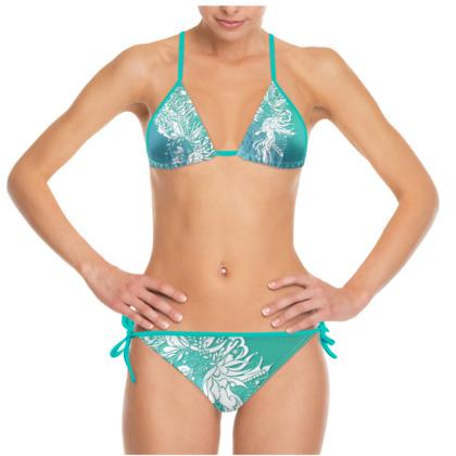 Bikini - White ink flower turquoise
