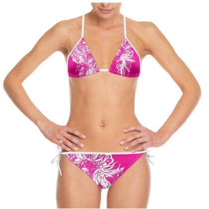 Bikini - White ink flower pink
