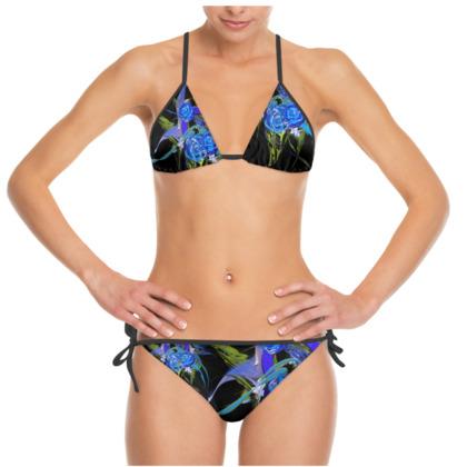 Bikini - Blue flower black