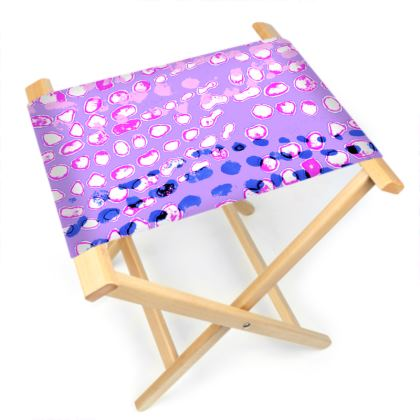 Textural Collection multicolored in mauve and blue Folding Stool Chair