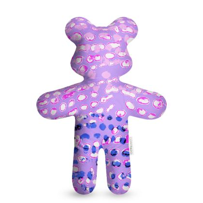 Textural Collection multicolored in mauve and blue Teddy Bear