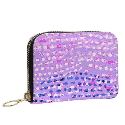Textural Collection multicolored in mauve and blue Small Leather Zip Purse