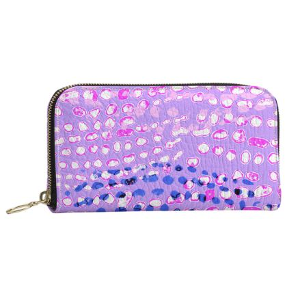 Textural Collection multicolored in mauve and blue Leather Zip Purse