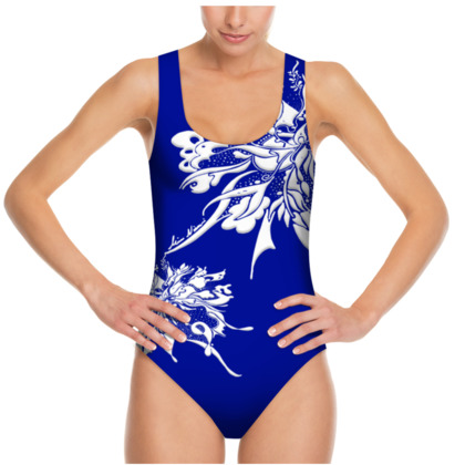 Swimsuit - Baddräkt - White ink clear blue
