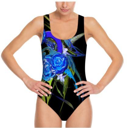 Swimsuit - Baddräkt - Blue flower black