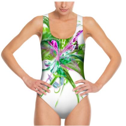 Swimsuit - Baddräkt - Summer flower white