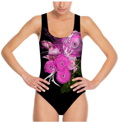 Swimsuit - Baddräkt - Pink summer fantasy black