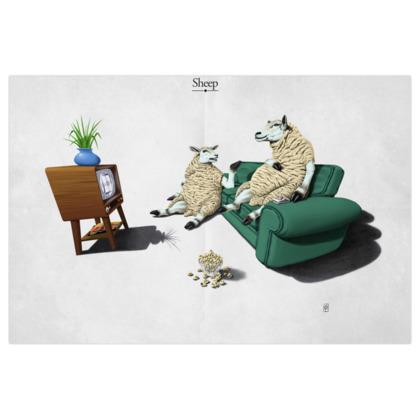Sheep ~ Title Animal Behaviour Art Print