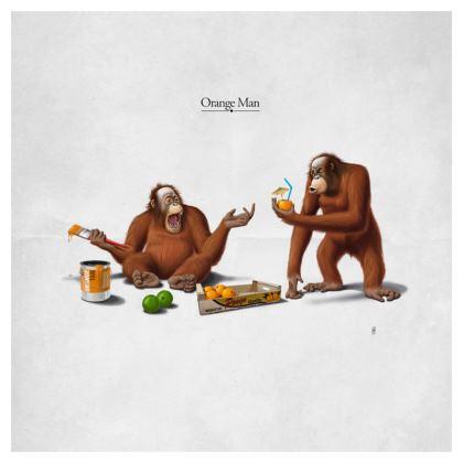 Orange Man ~ Title Animal Behaviour Cushion