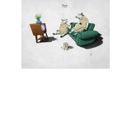 Sheep ~ Title Animal Behaviour Art Postcard