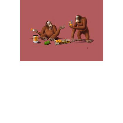 Orange Man ~ Colour Animal Behaviour Art Postcard