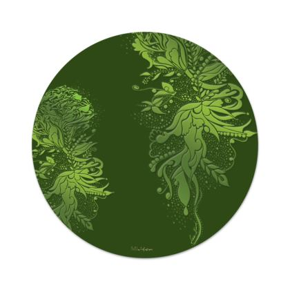 Serving Platter - Uppläggningsfat - Green ink flower green