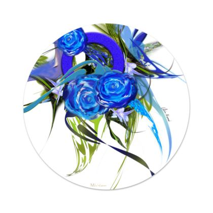 Serving Platter - Uppläggningsfat - Blue flower white