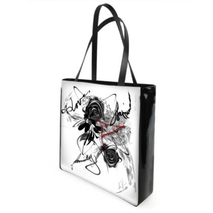 Shopper bag - Shopping väska - Love Family Happiness white