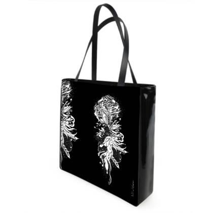 Shopper bag - Shopping väska - White Ink flower black