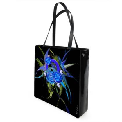 Shopper bag - Shopping väska - Blue flower black