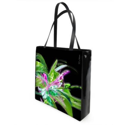 Shopper bag - Shopping väska - Summer flower black