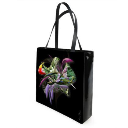Shopper bag - Shopping väska - Spring flower black