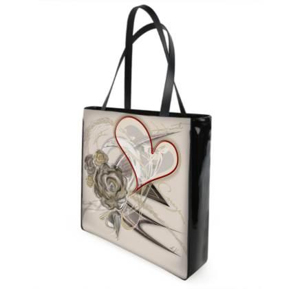Shopper bag - Shopping väska - Brown heart brown