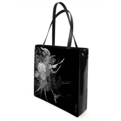 Shopper bag - Shopping väska - 50 shades of lace grey black and white