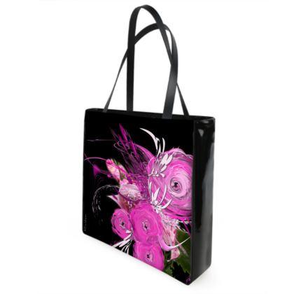 Shopper bag - Shopping väska - Pink summer fantasy black
