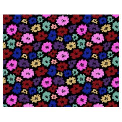 Kimono with bold, bright flowers on black
