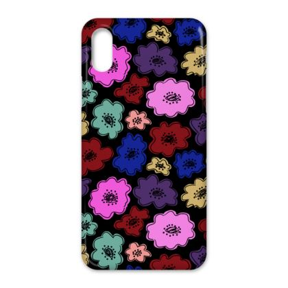 Iphone case in bright bold floral pattern on black