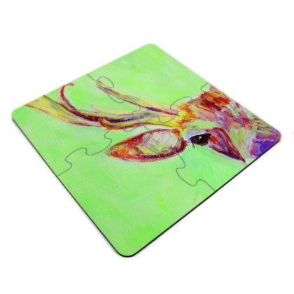 Green and Red Stag Jigsaw Coasters
