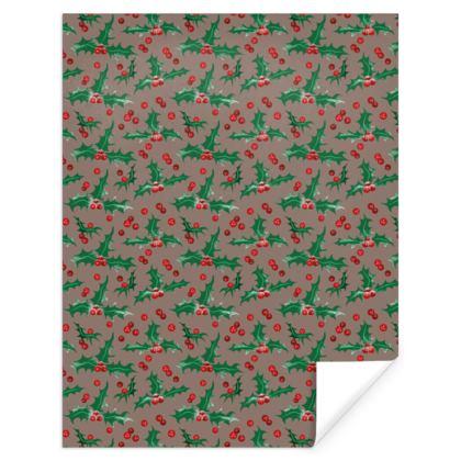 Holly [Mocha Brown] Pattern Gift Wrap