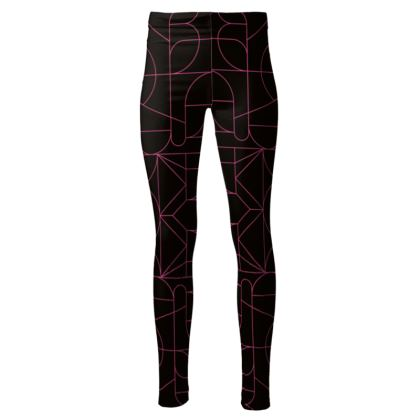 High Waisted Leggings - Kaleidoscope Black and Pink