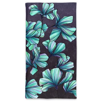 Wild botanical neck tube scarf in turquoise and purple