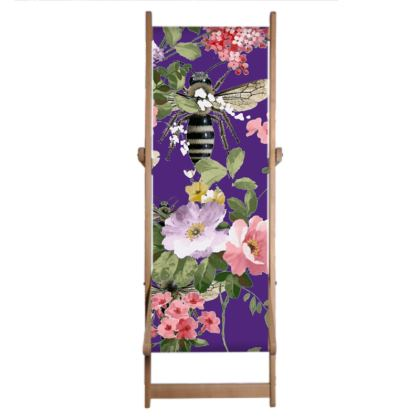 Single Deckchair Replacement Sling Purple Flora and Bee