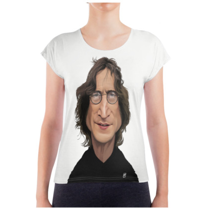 John Lennon Celebrity Caricature Ladies T Shirt