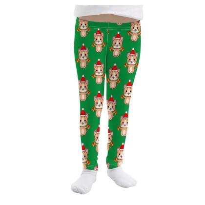 Cute Ginger Santa Cat Girls Leggings