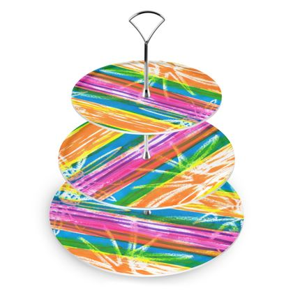 Rainbow Stripes Cake Stand