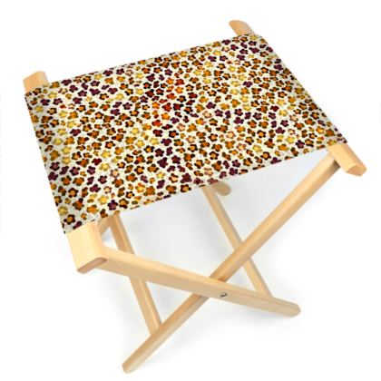 Leopard Skin Collection Folding Stool Chair