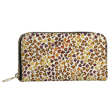 Leopard Skin Collection Leather Zip Purse