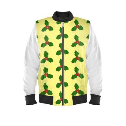 Holly Leaf Pattern Mens Bomber Jacket