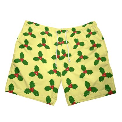 Holly Leaf Pattern Mens Swimming Shorts