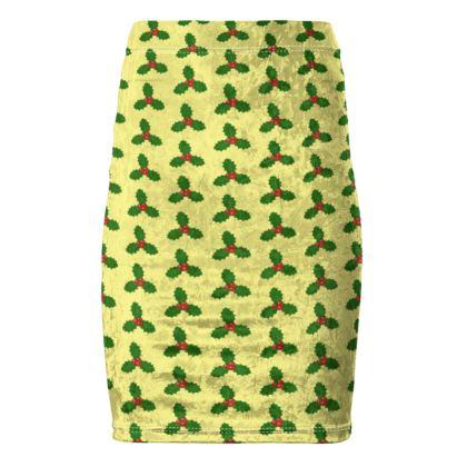 Holly Leaf Pattern Pencil Skirt