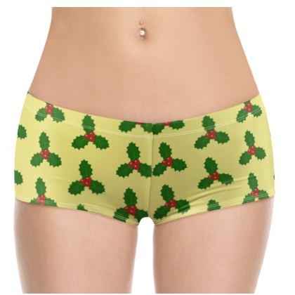 Holly Leaf Pattern Hot Pants