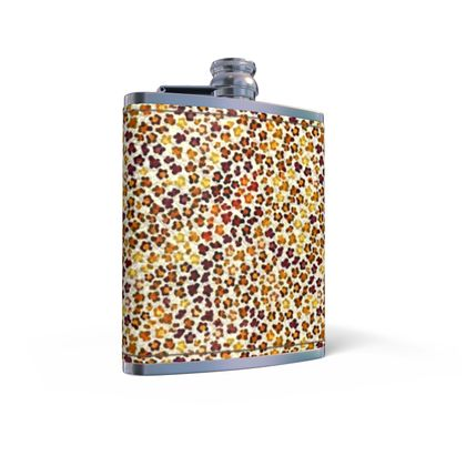 Leopard Skin Collection Leather Wrapped Hip Flask